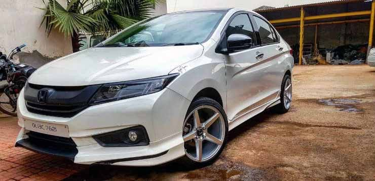 Modified Honda City White Front Three Quarters Ima