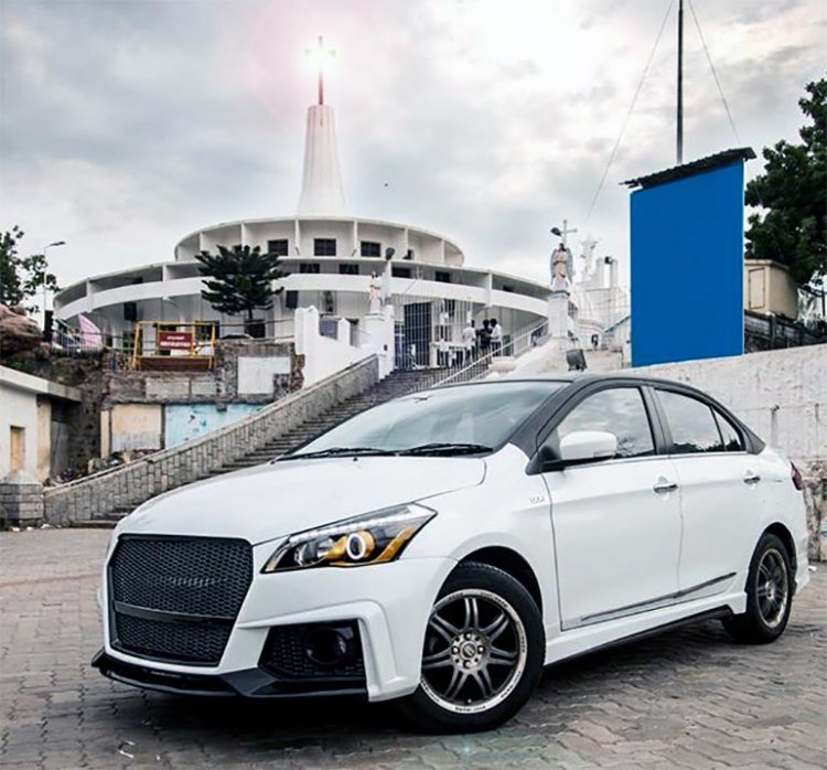 Modified Maruti Suzuki Ciaz White Front Three Quar