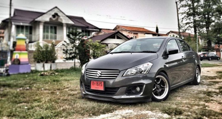 Modified Suzuki Ciaz Low Rider Gray Front Three Qu