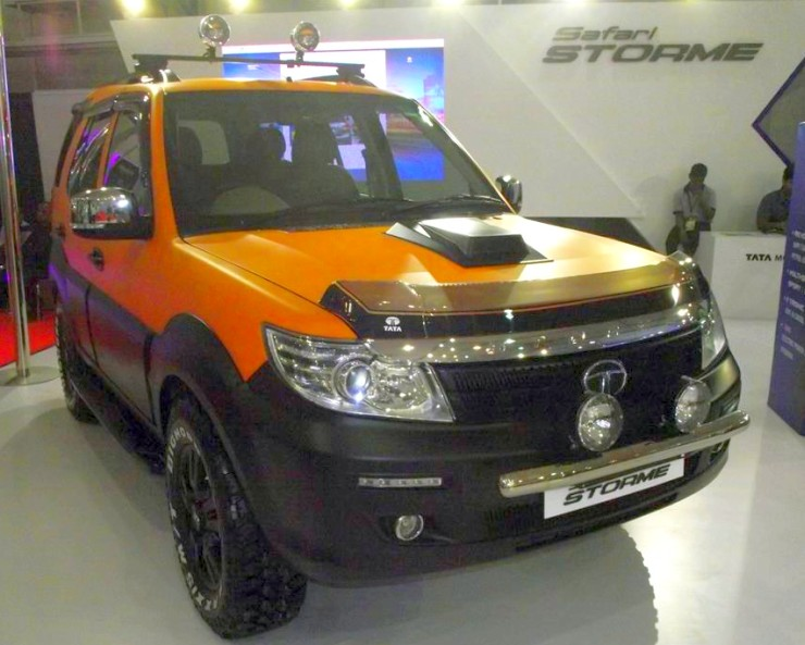 Modified Tata Safari Orange Black Front Three Quar