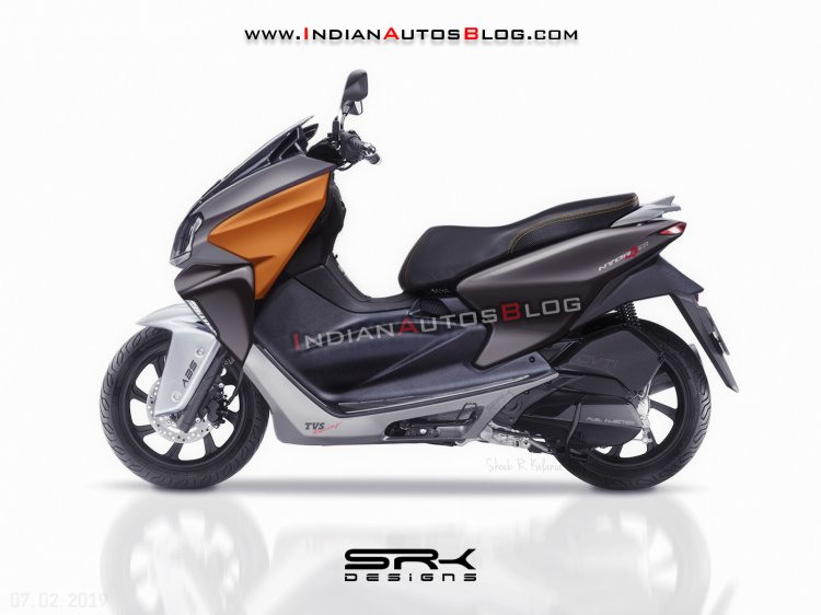 Tvs Ntorq 150 Iab Rendering Side Profile