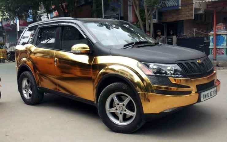 Modified Mahindra Xuv500 Golden Wrap