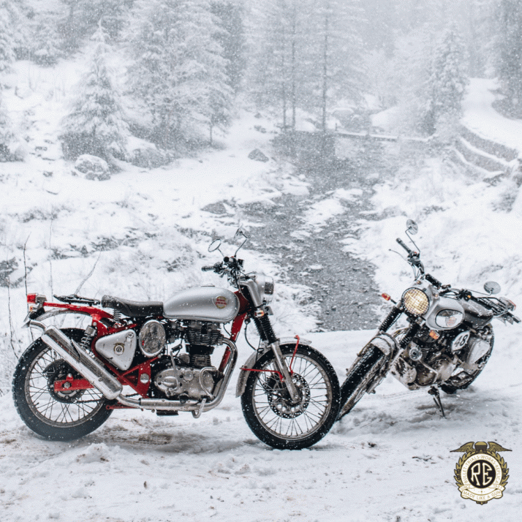 Royal Enfield Bullet Trials Works Replica In Snow