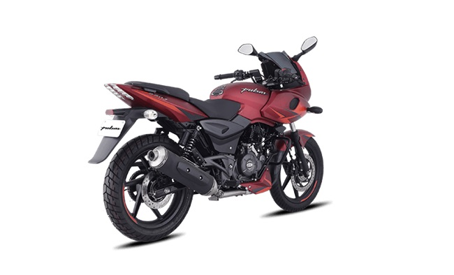 Bajaj Pulsar 220f Volcanic Red Rear Three Quarters