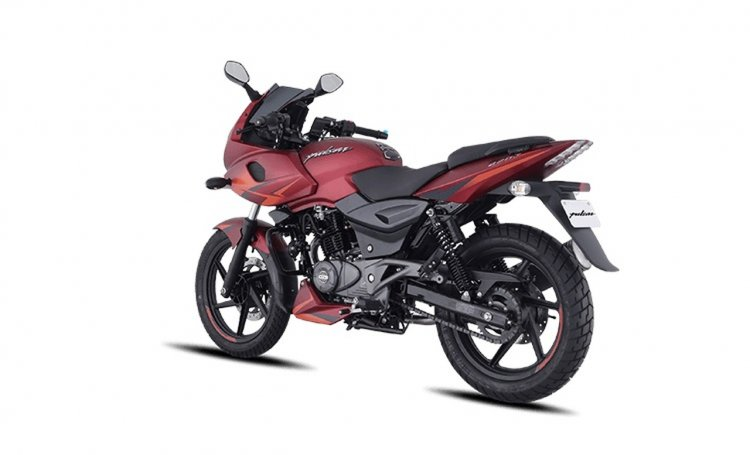Bajaj Pulsar 220f Volcanic Red Left Rear Quarter