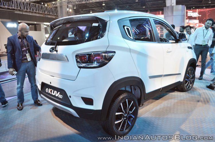 Mahindra E Kuv100 Rear Three Quarters At Auto Expo