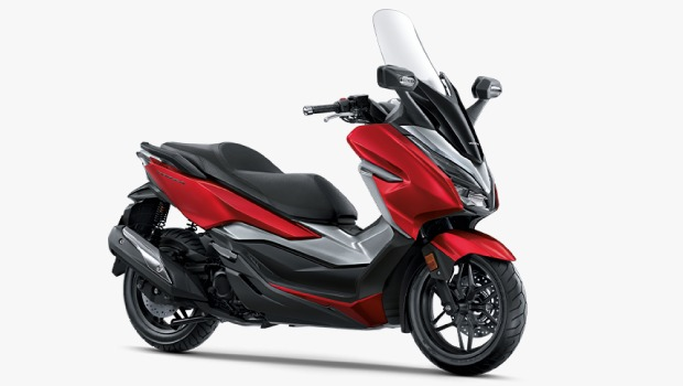 2019 Honda Forza 300 Red Grey Front Three Quarters