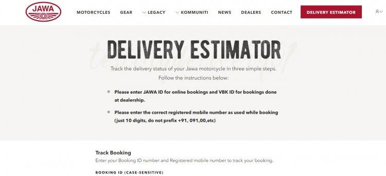 Updated Jawa Delivery Estimator Webpage Screenshot