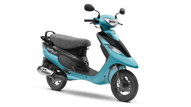 Tvs Scooty Pep Plus Aqua Matte Left Front Quarter
