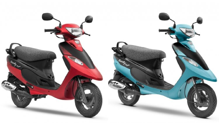 Tvs Scooty Pep Plus Coral Matte And Aqua Matte Lef
