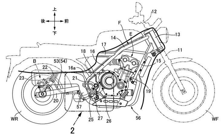 Honda Rebel 500 Based Retro Scrambler Patent Image