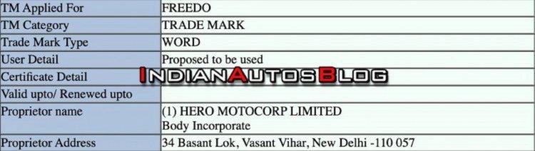 Hero Freedo Trademark Application Eb61