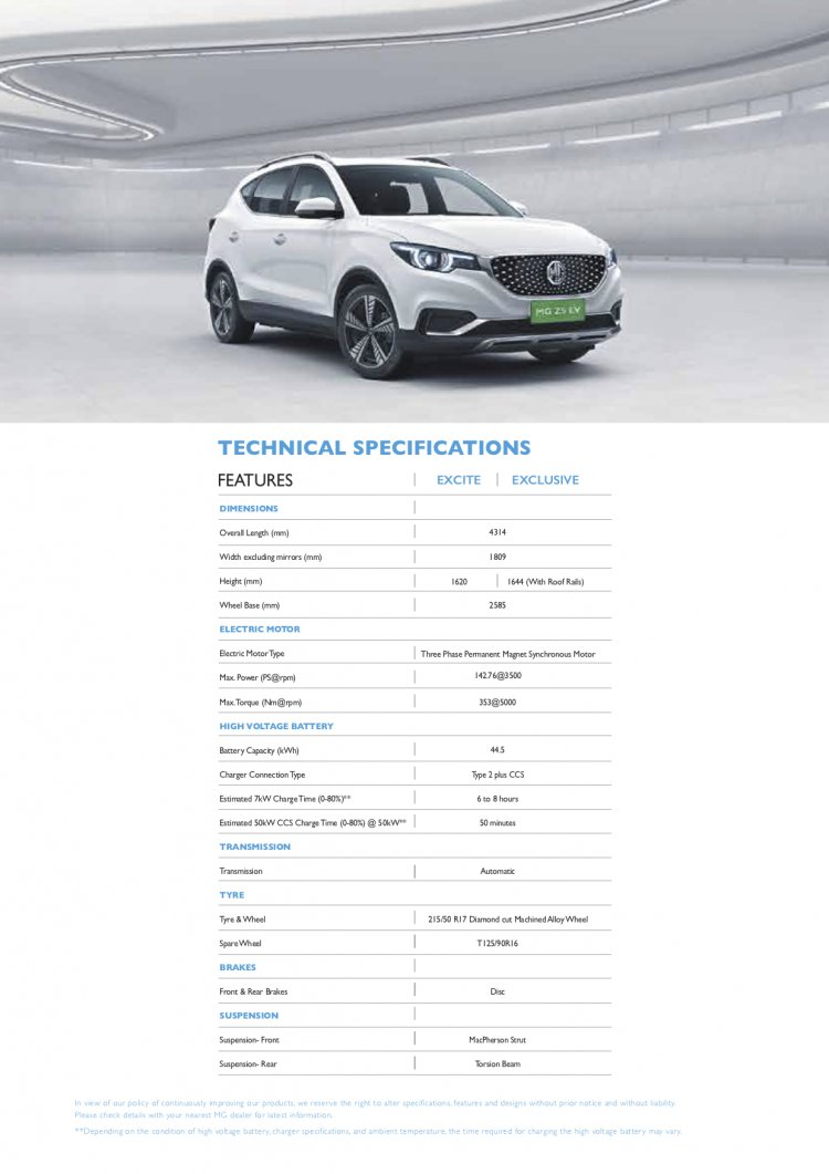 Mg Zs Ev Technical Specifications