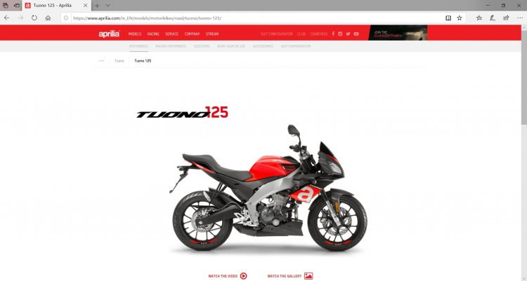 Aprilia Tuono 125 Side On Website