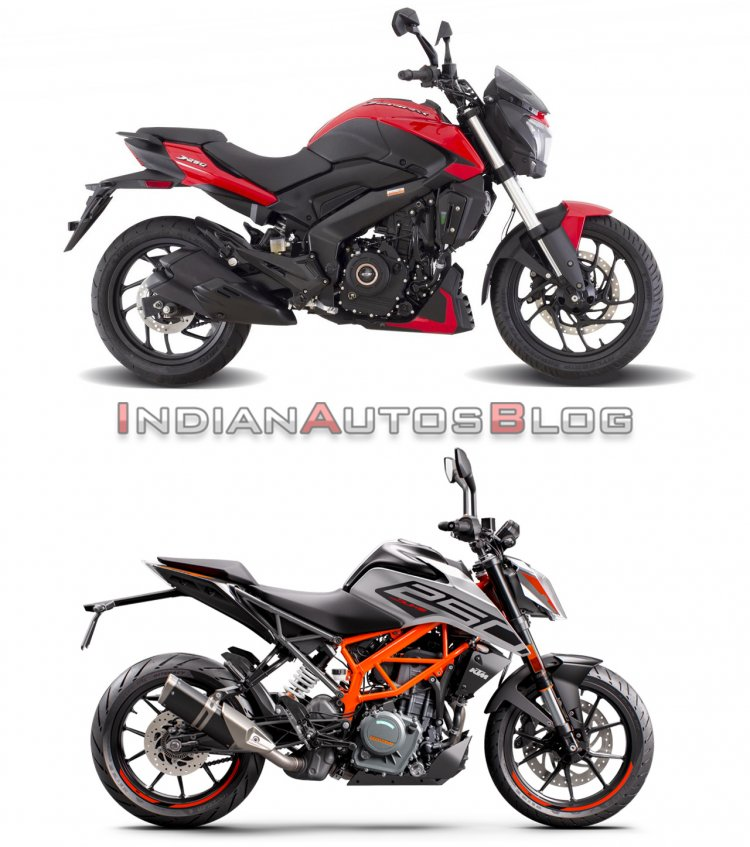 Bajaj Dominar 250 Vs Ktm 250 Duke Side Profile