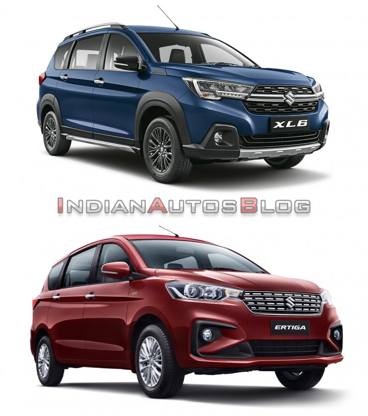 Maruti XL6 vs Maruti Ertiga - Front three quarter look