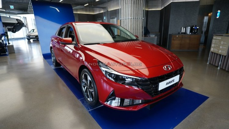 2021 Hyundai Elantra Red Front Three Quarters