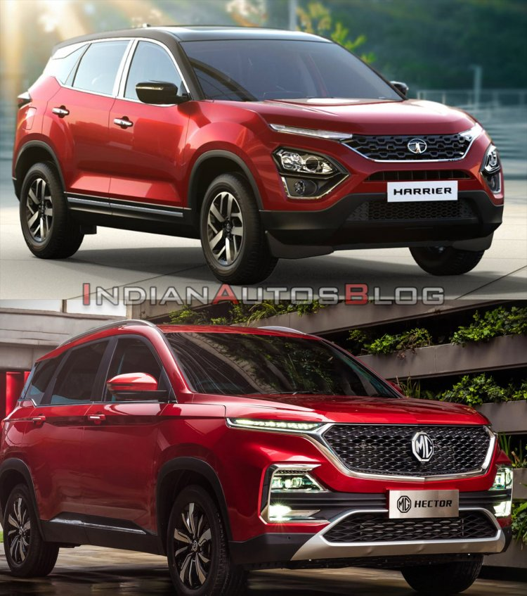 Tata Harrier vs MG Hector - front side quarter