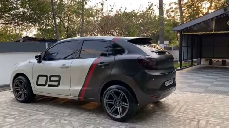 Modified Maruti Baleno rear three quarter