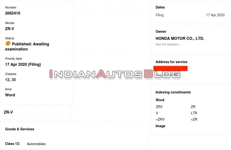 Honda Zr V Trademark Application Indianautosblog C