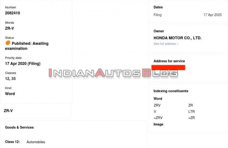 Honda Zr V Trademark Application Indianautosblog C