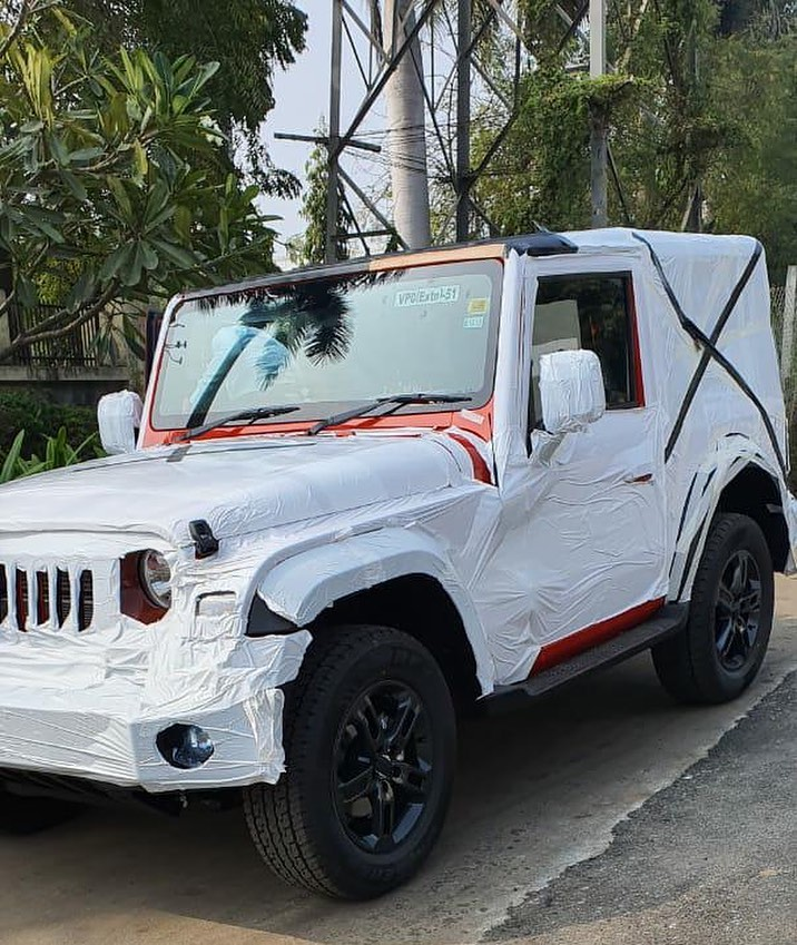 Red 2020 Mahindra Thar Next Gen Spy Shot