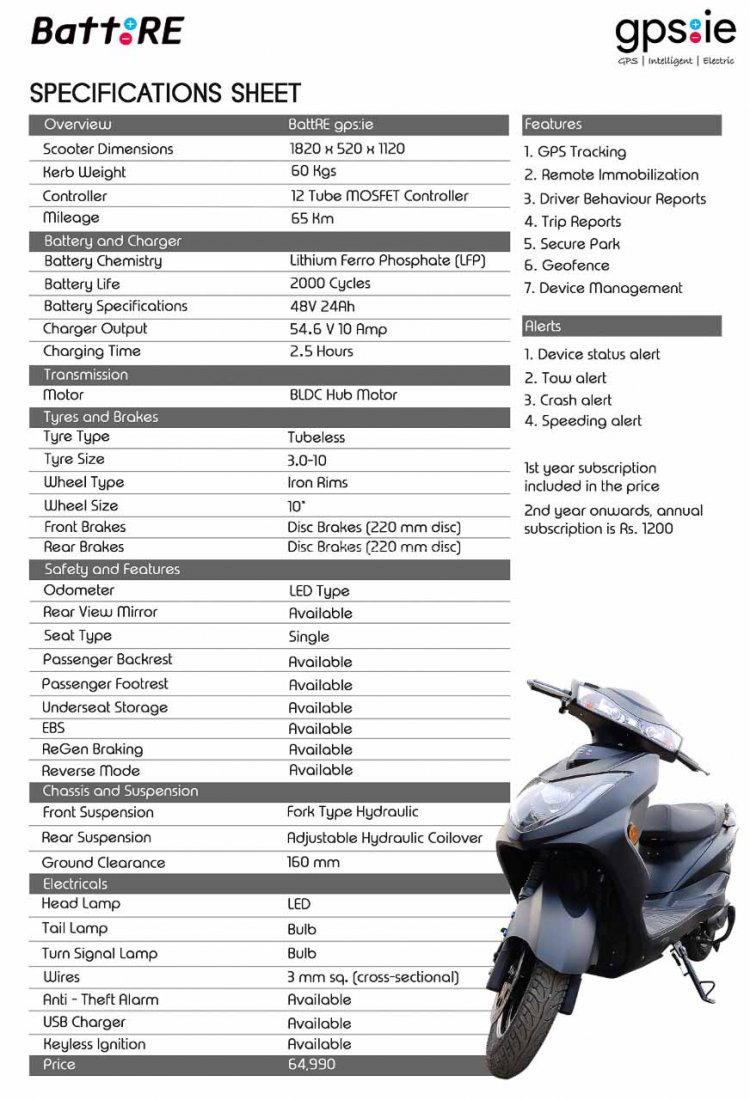 Battre Gpsie Electric Scooter Specs 3964