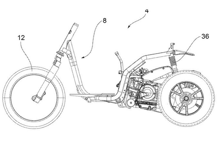 Piaggio Leaning 3 Wheeler Patent Image Side