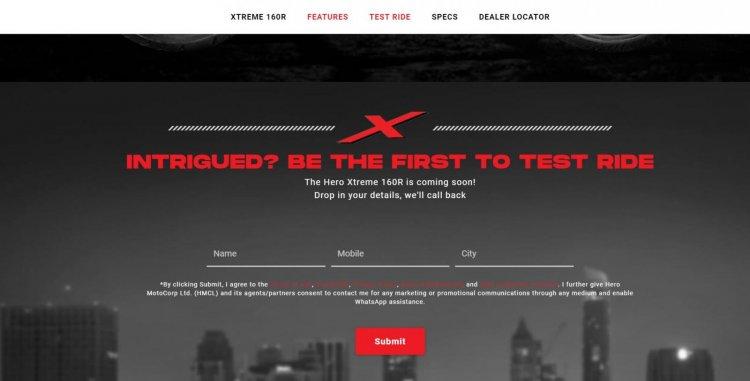 Hero Xtreme 160r Test Ride Registration