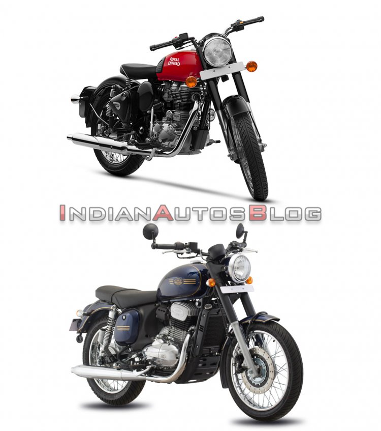 Jawa Forty Two vs Royal Enfield Classic 350 - front three quarter