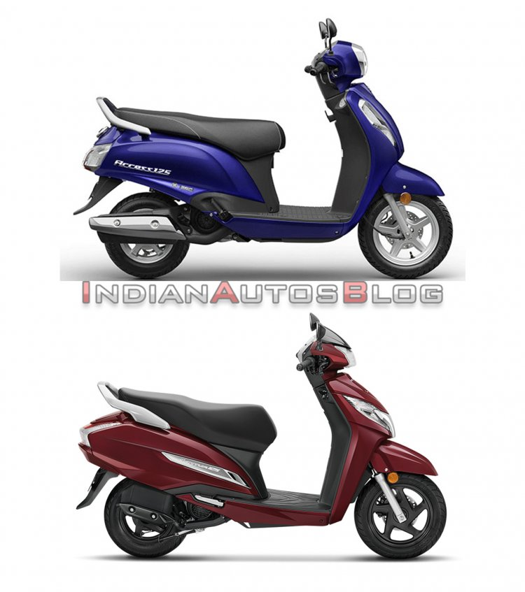 Suzuki Access 125 vs Honda Activa 125 - side
