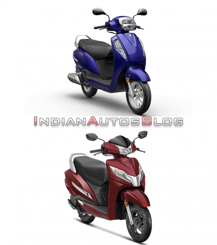 Suzuki Access 125 vs Honda Activa 125 - front three quarter
