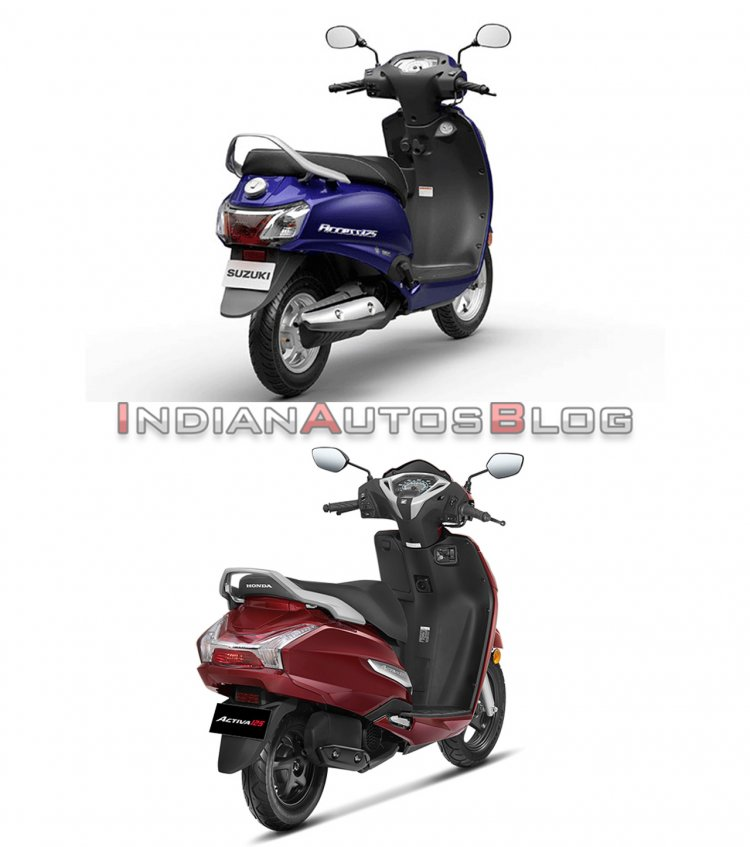 Suzuki Access 125 vs Honda Activa 125 - rear three quarter