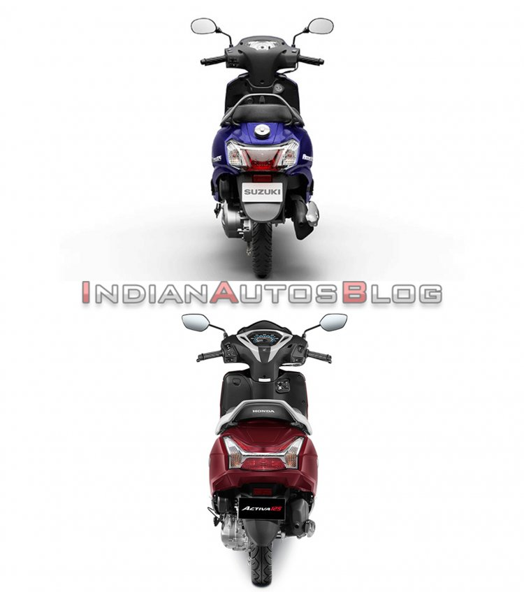 Suzuki Access 125 vs Honda Activa 125 - rear