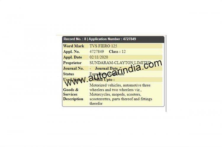 Tvs Fiero 125 Trademark Application