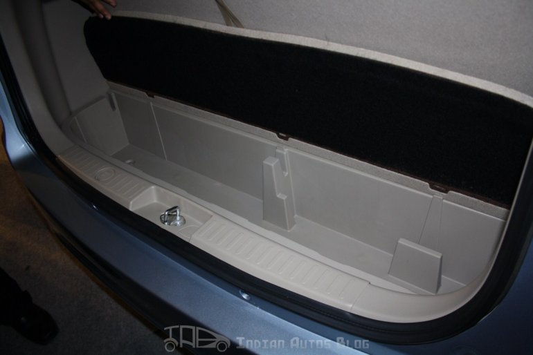Maruti Suzuki Ertiga ZXI storage compartment hidden under the luggage area
