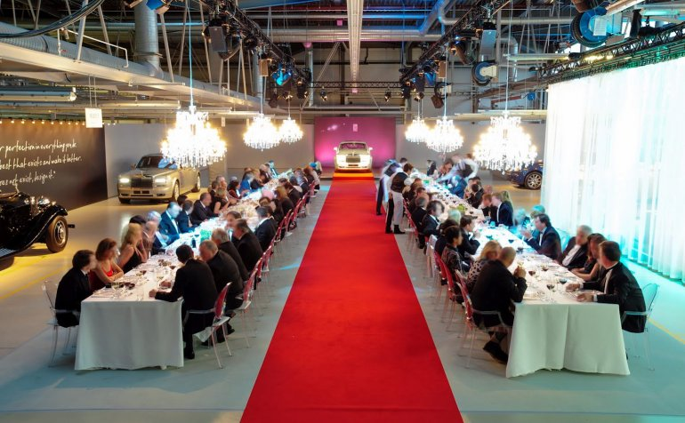 Rolls Royce Goodwood assembly line dinner