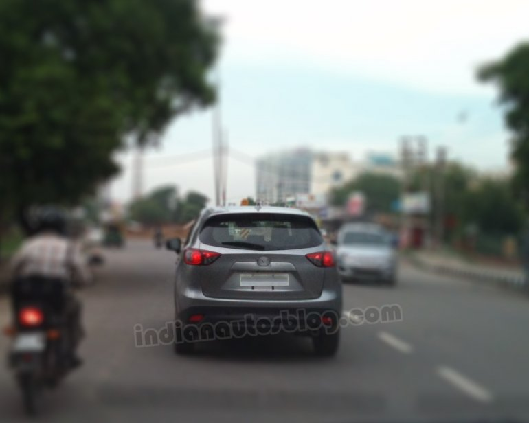 Mazda CX-5 gray test mule Gurgaon rear