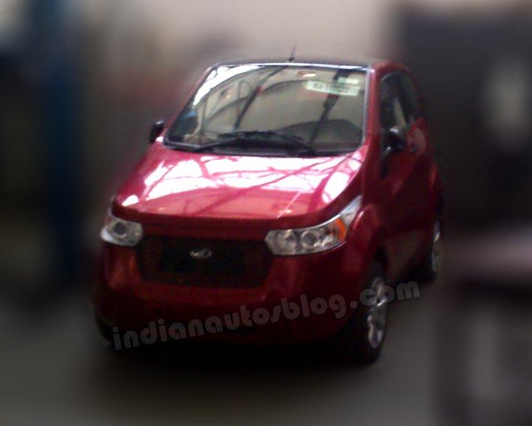 Mahindra E2O spotted at a Mahindra workshop