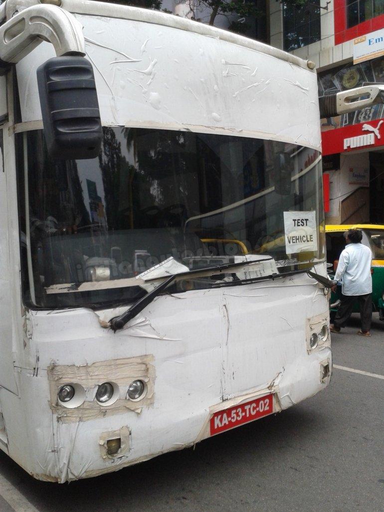 Volvo bus under tests in Bengaluru
