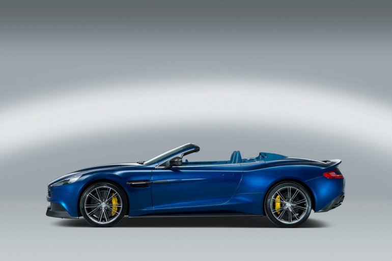 side of the Aston Martin Vanquish Volante with top down