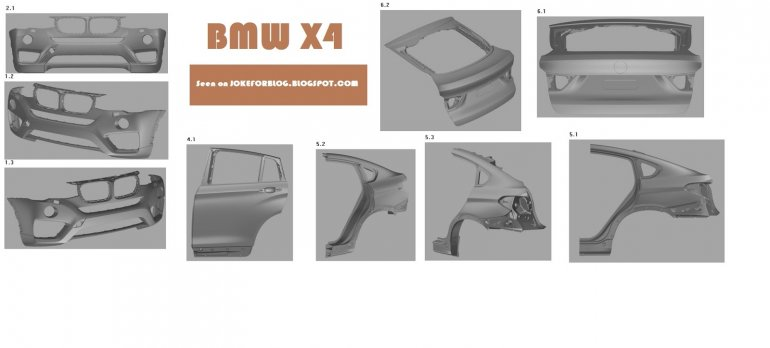 BMW X4 component drawings