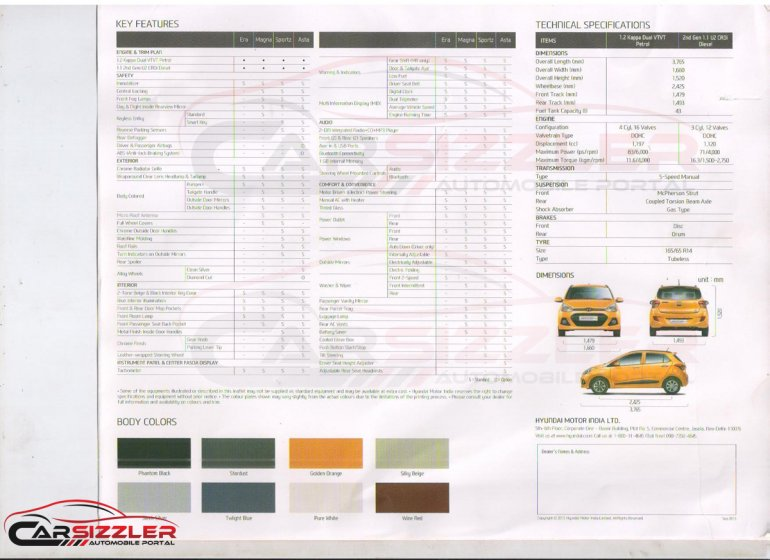 Hyundai Grand i10 brochure leaked