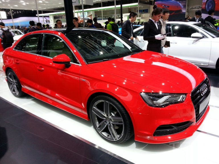 Audi A3 sedan front three quarters at Auto China 2014