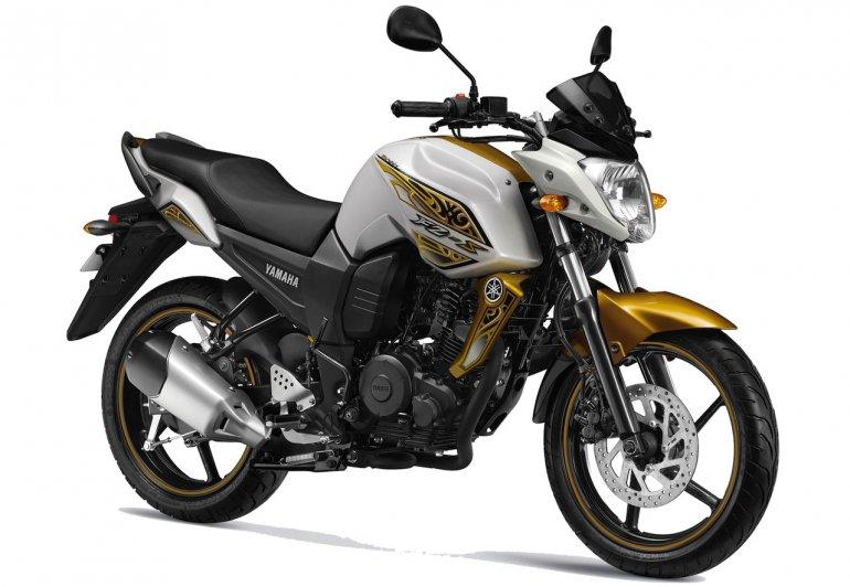Yamaha FZ-S press shot Hawk Eye Gold