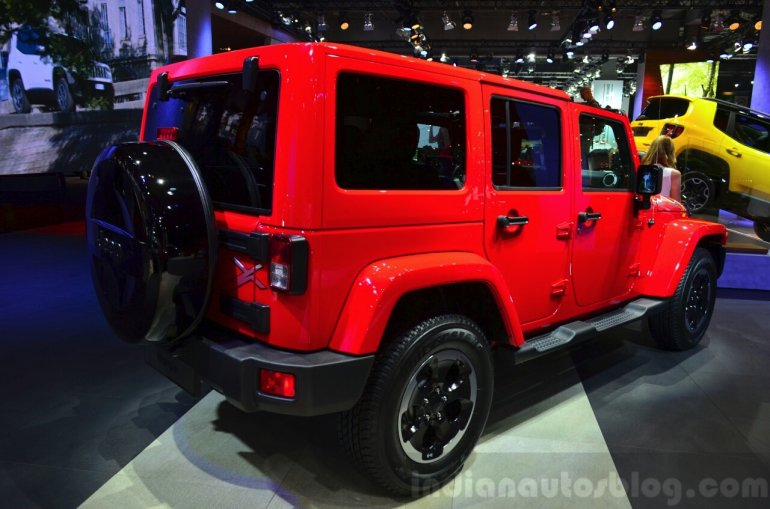 Jeep Wrangler Unlimited X rear three quarters at the Paris Motor Show 2014