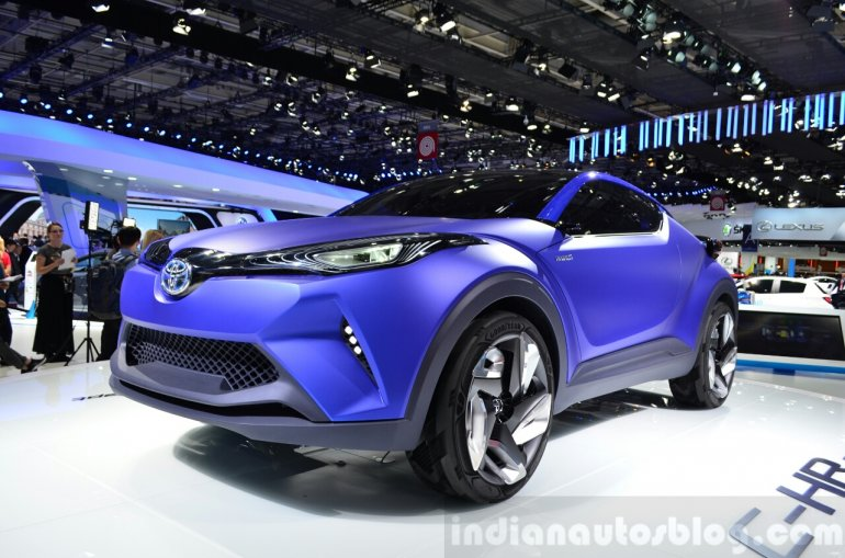 Toyota C-HR Concept front three quarters right at the 2014 Paris Motor Show