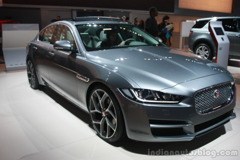 Jaguar XE front three quarter at 2015 Detroit Auto Show