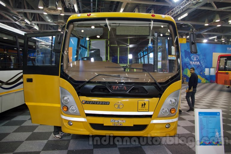 Tata Starbus Ultra SKOOL front at the Bus and Special Vehicles Expo 2015