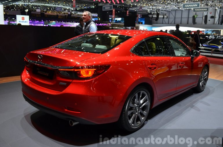 2015 Mazda 6 rear three quarter view at 2015 Geneva Motor Show